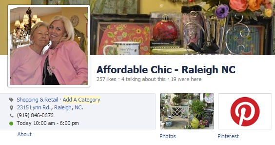 Woobox's Pinterest app installed on Affordable Chic's Facebook page.
