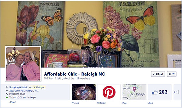 The Affordable Chic Facebook page.
