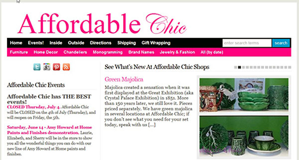 Affordable Chic Website, showing the featured posts.