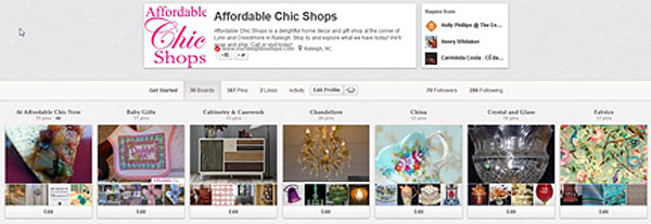 Affordable Chic Pinterest account.