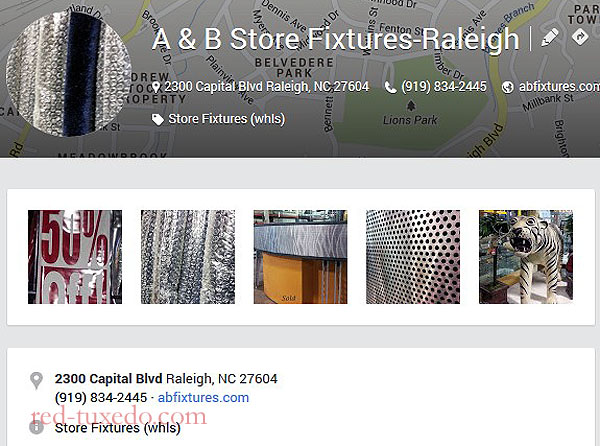 A&B Store Fixtures' Raleigh location, Google Places page.