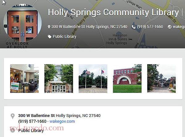 Wake County Library System Holly Springs' Branch, Google Places page.