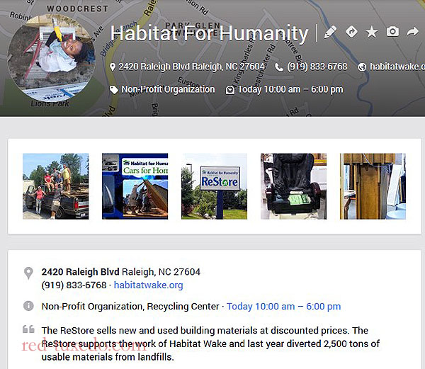Habitat for Humanity Raleigh Restore, Google places page.
