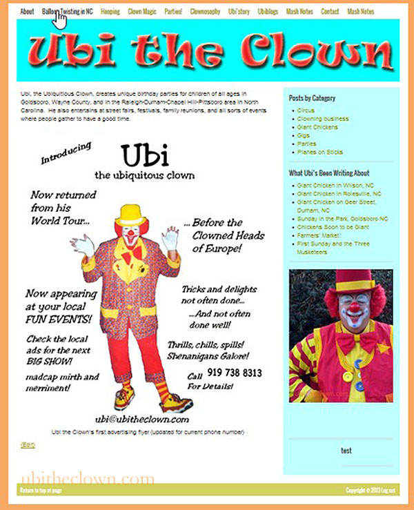 Ubi the Clown's Website