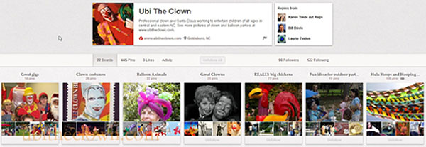 Ubi the Clown's Pinterest account (note the Giant Chicken board!)