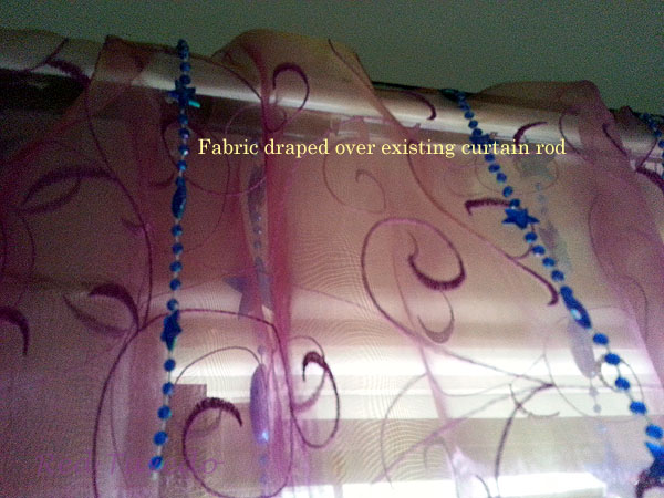 Drape yardage over existing curtain rod avoids rod-pocket measuring, pinning, sewing, pressing.