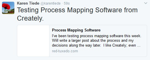 Screen shot of tweet with an embedded map from Creately.