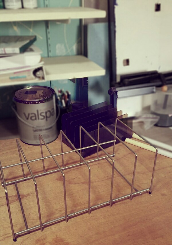 Wire file folder desktop rack.